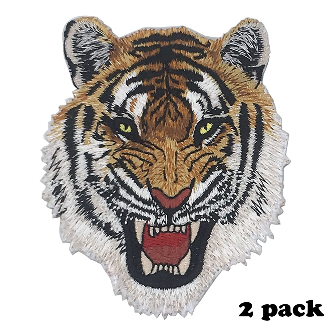 Iron On or Sew On Patches - Applique Embroidered Patches DIY Accessory Pack of 2 (FierceTiger)