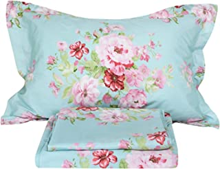 FADFAY Shabby Pink Floral 4 Piece Bed Sheet Set 100% Cotton Deep Pocket-Queen