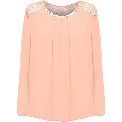 babaabc750 WearAll Women s Plus Lace Insert Chiffon Sheer Diamante Longsleeve Bubble  Hem Ladies Top 16-22