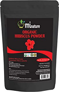 mi nature USDA CERTIFiED Organic Hibiscus Powder(SABDARIFFA) / 100% Pure, Natural and Organic For Hair,Skin and Health / (454g / (1 lb) / 16 ounces) - Resealable Zip Lock Pouch