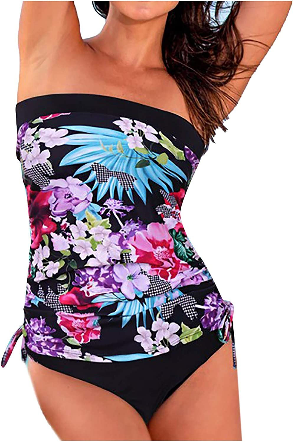 Women's Floar Printed Front Shirred Bandeau Tankini Swim Two Pieces Bathing Suit