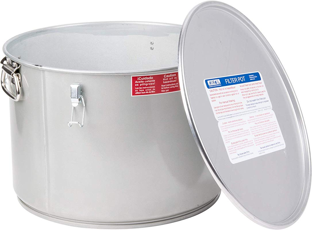 MirOil 60L Grease Bucket Oil Filter Pot Gasket Safety Lid With Quick Lock Clips For Fryer Oil Capacity Up To 55 Lbs Low Profile To Fit Under Drain Valves For Filtering Of Hot Oil