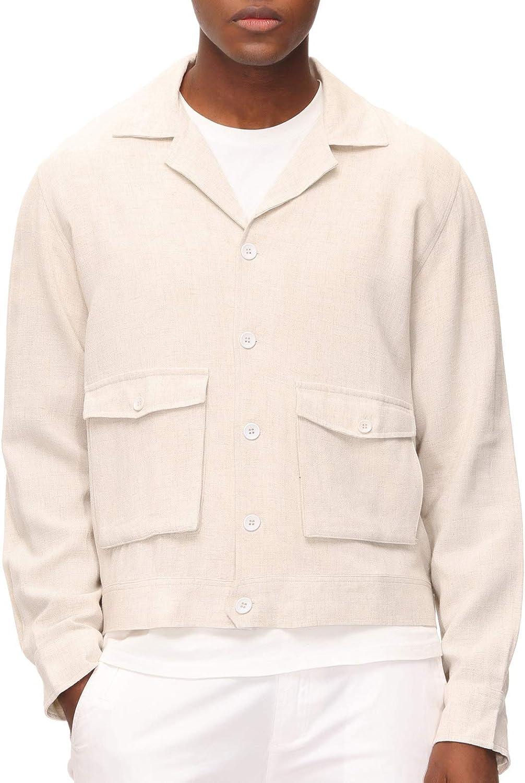 Men's Vintage Jackets & Coats PJ Paul Jones Mens Lightweight Linen Jacket Camp Collar 5 Button Safari Jacket  AT vintagedancer.com