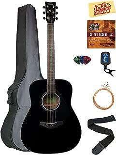 Yamaha FG800 Solid Top Folk Acoustic Guitar - Black Bundle with Gig Bag, Tuner, Strings, Strap, Picks, Austin Bazaar Instructional DVD, and Polishing Cloth
