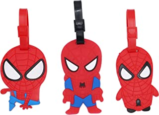 Set of 3 - Super Cute Kawaii Cartoon Silicone Travel Luggage ID Tag for Bags (Spiderman)