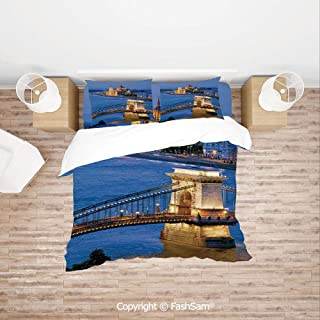 FashSam Luxury 4 Pieces Duvet Cover Bedding Set River of Budapest at Evening Illuminated Bridge Hungarian Culture Heritage Decor for Family(Single)