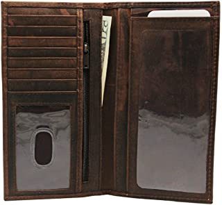 Men's RFID Vintage Look Genuine Leather Dark Brown Crazy Horse Long Checkbook Cover Bi-fold Wallet Gift for Him for Her