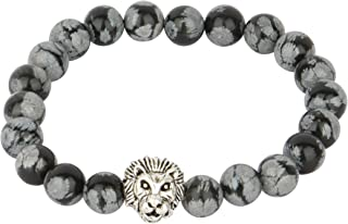 اسورة راس النمر الفضي مع حجر الاسود, للرجال