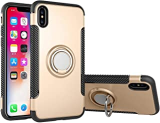 iPhone X case Gold, 360 Rotating Ring Grip Holder Stand & Magnetic Metal Patch Shockproof Soft TPU Bumper Non-Slip Frame A...