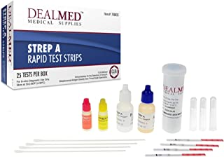 Dealmed Rapid Diagnostic Strep A Test Kits CLIA Waived (25 Tests per Box)