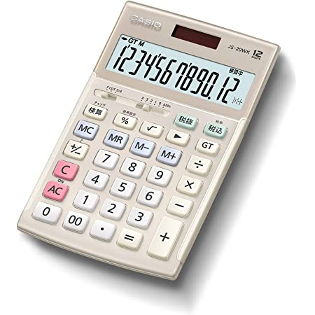 カシオ 本格実務電卓 12桁 検算機能 グリーン購入法適合 ジャストタイプ ゴールド JS-20WK-GD
