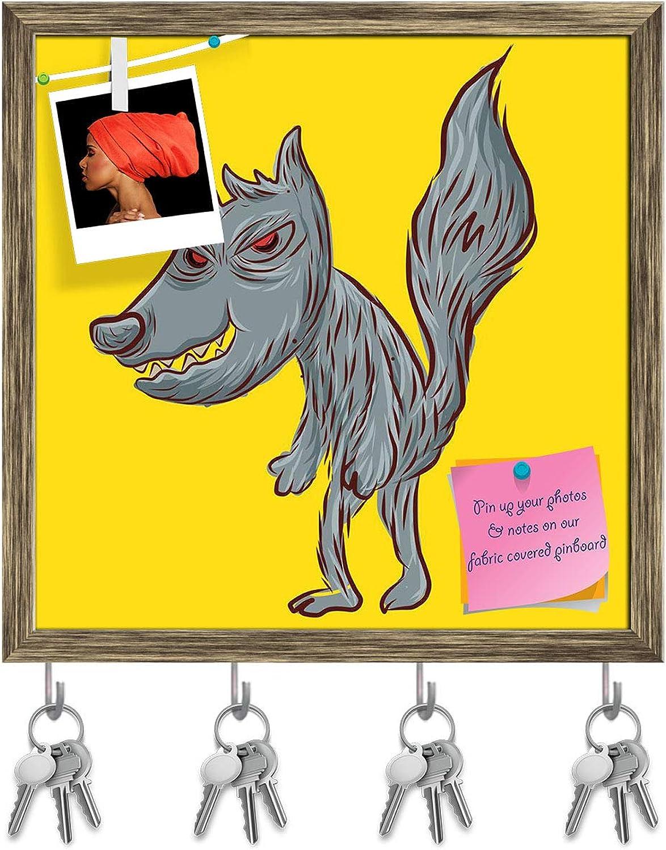 Artzfolio Bad Wolf Key Holder Hooks   Notice Pin Board   Antique golden Frame 20 X 20Inch