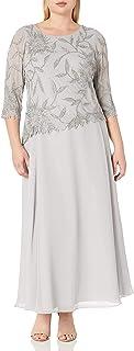 فستان طويل برقبة واسعة من J Kara مقاس كبير للنساء مع 3/4 كم مطرز من الأعلى