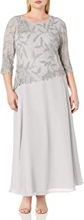 Plus Size Womens Scoop Neck Line with 3/4 Sleeve Beaded Top Long Dress