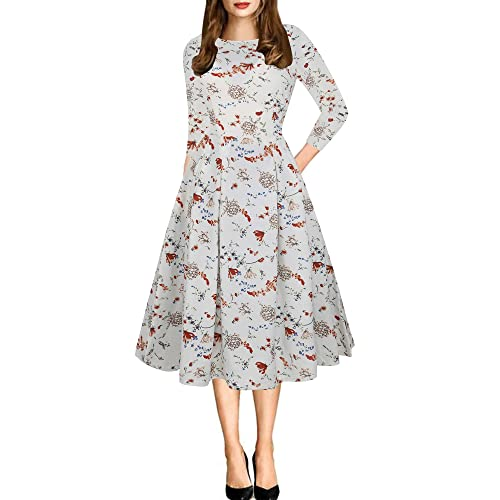 e7a4a1fb4 oxiuly Women's Vintage Patchwork Pockets Puffy Swing Casual Party Dress  OX165