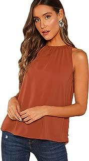 Verdusa Women's Casual Sleeveless Cut Out Back Summer Halter Cami Top