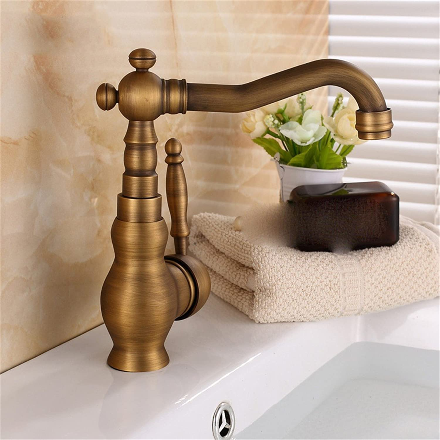 Hlluya Professional Sink Mixer Tap Kitchen Faucet Antique faucet brushed antique copper basin-wide lowered basin can be redated and cold water faucet, antique color