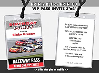 Daytona 500 Birthday Party VIP Pass Invitation, Blue or Red, Printable or Printed Option