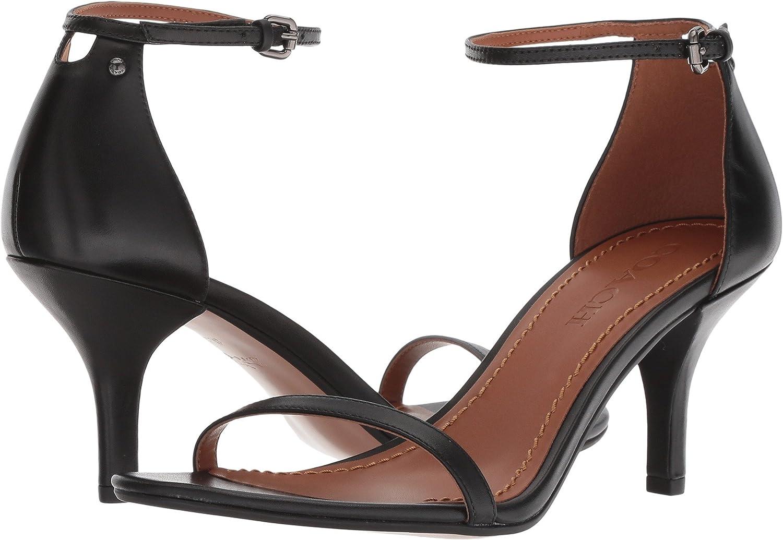 COACH Heeled Sandal Black Leather 8.5