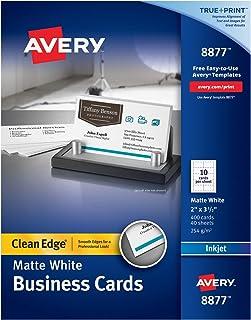 بطاقات عمل قابلة للطباعة من Avery ، طابعات نافثة للحبر، 400 بطاقة، 2 × 3. 5، حافة نظيفة، ثقيل الوزن (8877)، أبيض