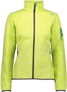 CMP Women's Fleece Melange Jacket KnitTech, Lime Mel-GRAFFITE, 14