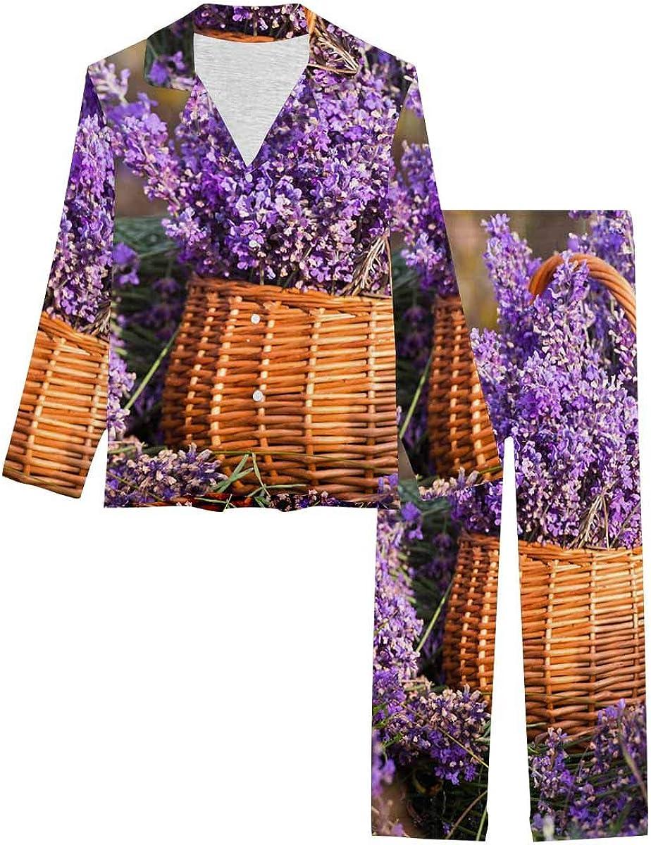 InterestPrint Women's Nightwear Notch Collar Loungewear with Long Pants Basket with a Lavender