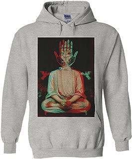 Traditional Buddha Trippy Yoga Hand Novelty Black Men Women Unisex Hooded Sweatshirt Hoodie