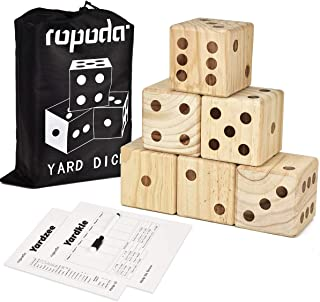 ROPODA Giant Wooden Yard Dice-Giant Outdoor Gaming Dice Set 3.5