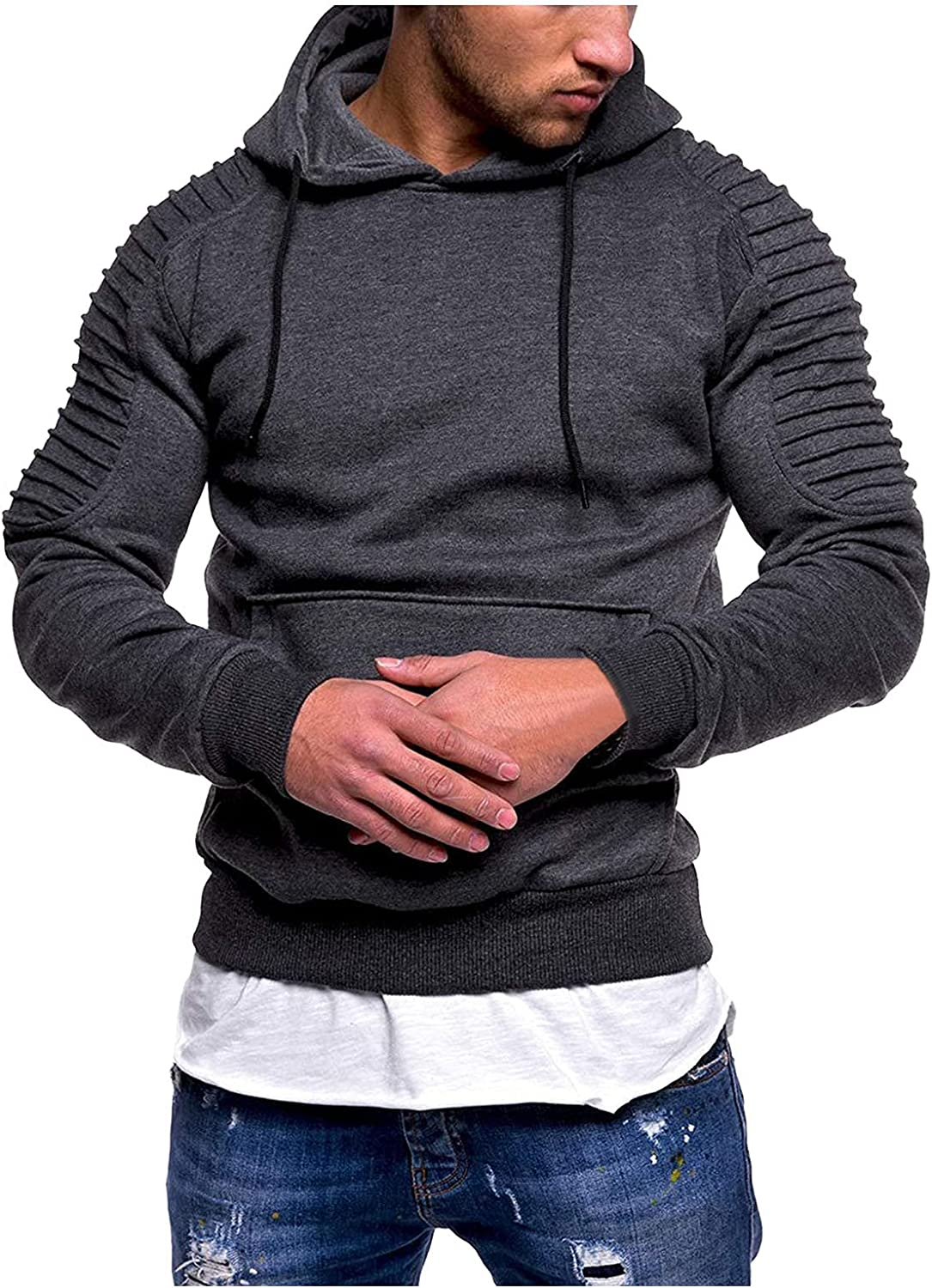 UOKNICE MEN-TOPS Mens Striped Pleated Raglan Sweatshirts Active Solid Color Loose Hooded Pullover