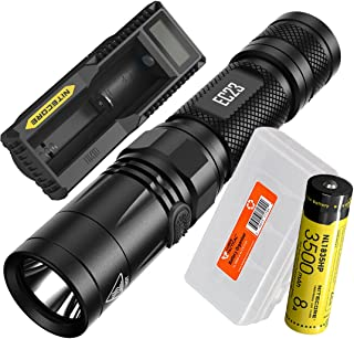 Nitecore EC23 1800 Lumens High Performance LED Flashlight, 1x 3500mAh Rechargeable Battery, UM10 Digital Smart Charger and Lumen Tactical Battery Organizer