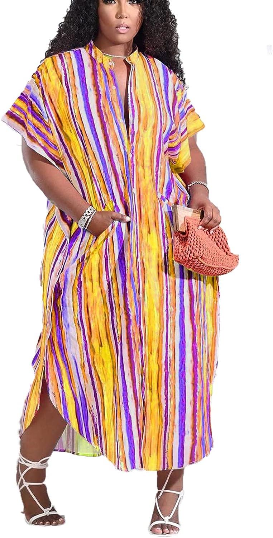 Bluewolfsea Women Summer Short Sleeve Striped Button Down Shirt Dress Pockets Long Tshirt Maxi Dress with Slit