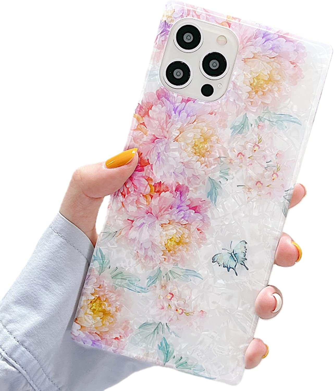 YTanazing Compatible with iPhone 12 Pro Max Square Case, Bling Shell Flower Pattern Soft Silicone Crystal Shockproof Bumper Cover for iPhone 12 Pro Max 6.7 inch Colorful Flower