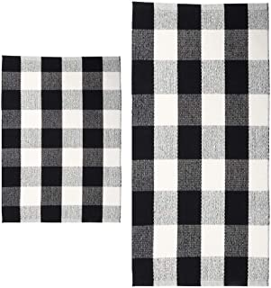 MORECARE Buffalo Plaid Rug, Set of 2 100% Cotton Hand-Woven Durable Black and White Kitchen Rug Carpet Doormat for Bedroom Laundry and Bathroom, 18''x 28'' and 24'' x 51''