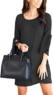 Women's Bell Sleeve Shift Dress Ruffle Tunic Dress Round Neck Loose Swing Mini Dresses