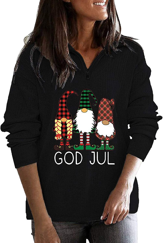 Women Fleece Fall Sweatshirts,Trendy 1/4 Zip Pullover Kawaii Graphic Christmas Tops Long Sleeve Goth Y2K Casual Blouse