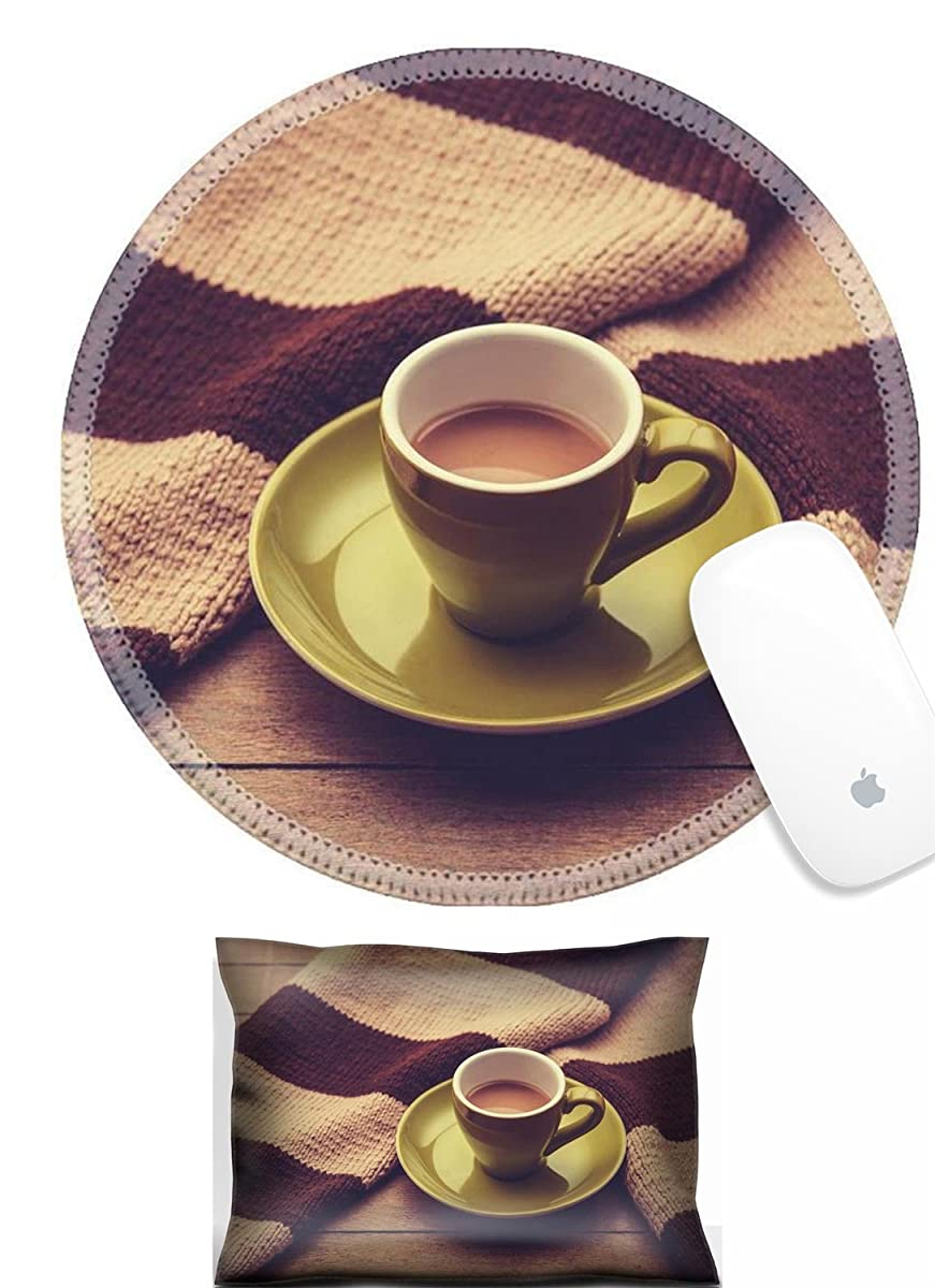 Luxlady Mouse Wrist Rest and Round Mouse Wrist Set IMAGE: 26702842 Green cup of the coffee and vintage scarf Photo with filter as a retro color image style