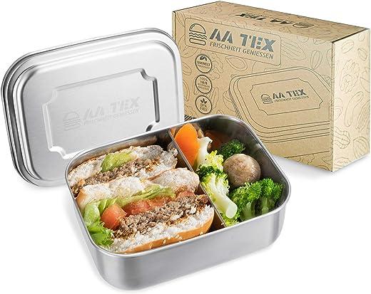 AA TEX Brotdose Edelstahl – 1000 Milliliter, Bento Box Kinder, BPA-frei, 2 Fächer, Spülmaschinenfest, Lunchbox für Kinder and Erwachsene