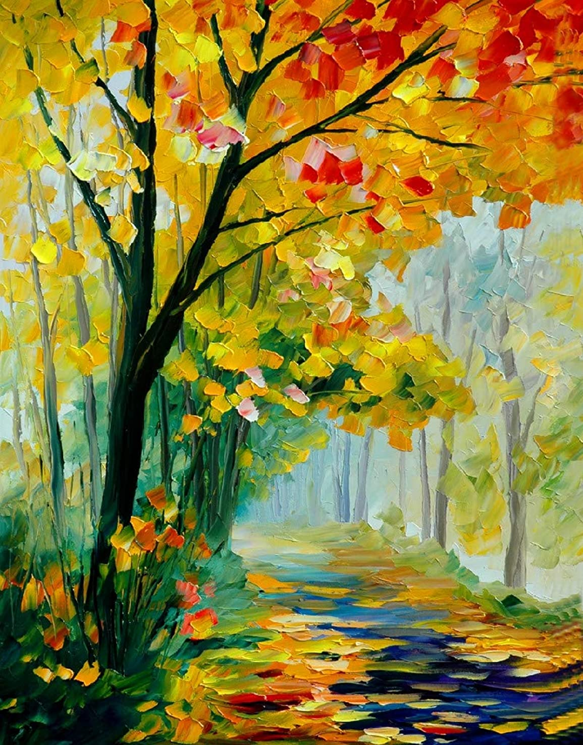 [ Wooden Framed ] DIY Oil Painting Paint by Number Kit for Adults Kids Romantic Love Autumn (11) 16x20 Inch