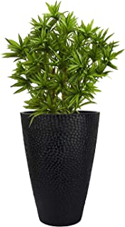 LA JOLIE MUSE Large Outdoor Tall Planter - 20in Indoor Tree Planter, Plant Pot Flower Pot Containers, Black,Honeycomb