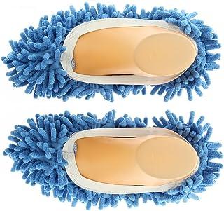 Sungpunet 1 Pair Mop Shoe Cover Dusting Floor Cleaning Slipper Housekeeper (Blue)