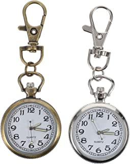 VILLCASE 2Pcs Relógio de Enfermeira de Quartzo Vintage Clipe de Relógio de Bolso Relógio de Lapela Relógio de Lapela Clipe...