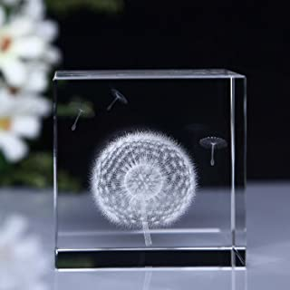 HSMM 3D Dandelion Paperweight (Laser Etched) in Crystal Glass Cube Gift For Christmas/Birthday/Valentine's day