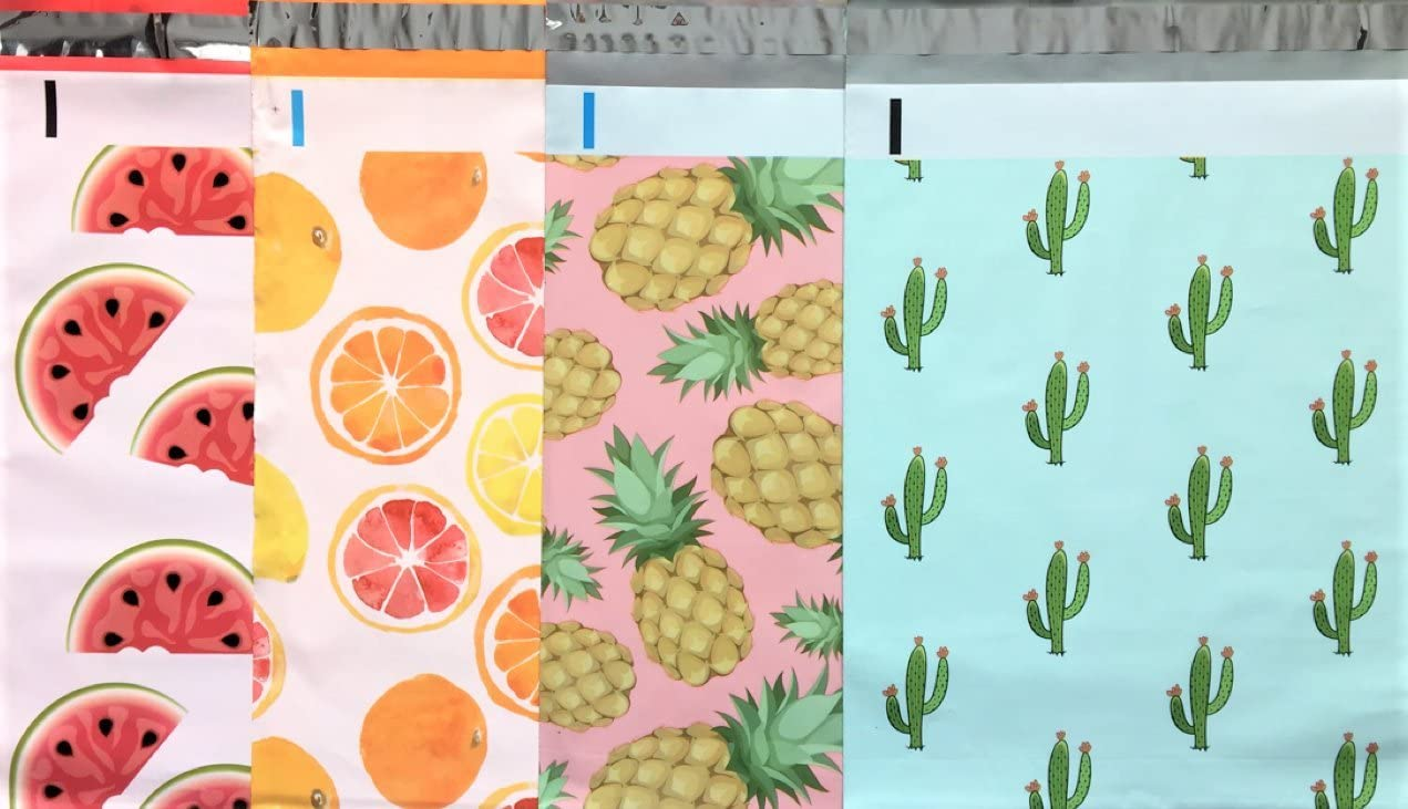 Designer Poly Mailers 10x13 : Watermelon, Citrus, Pink Pineapple, Mint Cactus; Printed Self Sealing Shipping Poly Envelopes Bag (40 Mix Variety Pack #7) (Original Version)