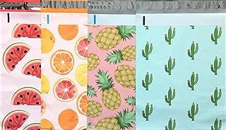 Designer Poly Mailers 10x13 : Watermelon, Citrus, Pink Pineapple, Mint Cactus; Printed Self Sealing Shipping Poly Envelopes Bag (40 Mix Variety Pack #7) (Original Version)
