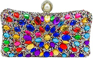 Women's Banquet Clutch Bag Color Crystal Rhinestone Wedding Bridal Bag Dinner Pack Chain Mobile Phone Coin Purse Black/Gold/Silver Size: 20 * 6 * 10cm Fashion (Color : Gold)