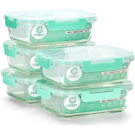 CREST ensembe de 5 boîtes à Lunch en Verre, capacité de 1040ML (34oz), couvercles Verts clairs, Anti-Fuite