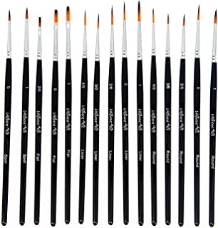 Virtuoso 15-Piece Fine Paintbrushes, Handmade Detail Paint Brush Set - for Acrylic, Watercolor, Oil - Includes Deluxe Carry-Case