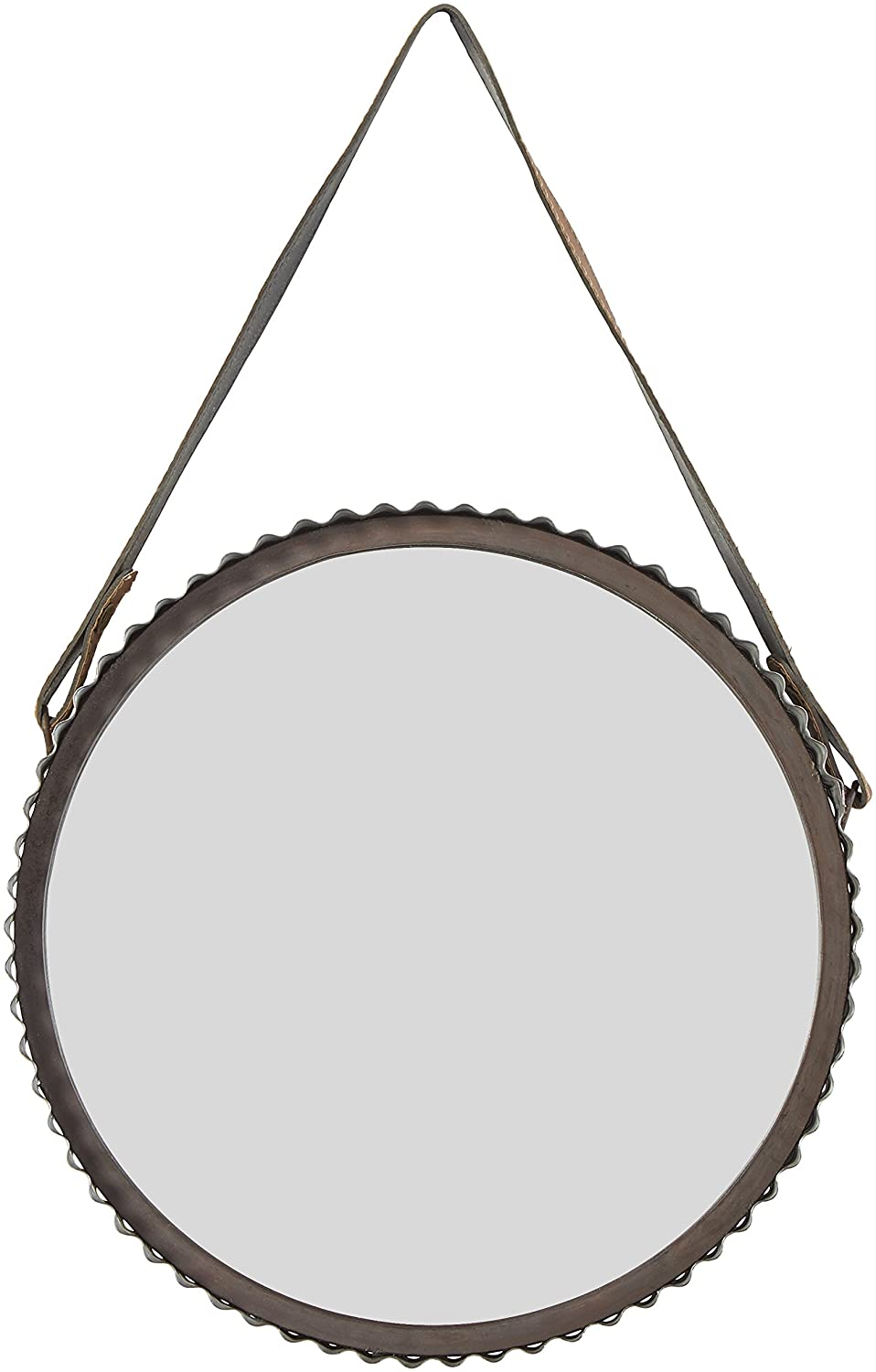 Amazon Brand – Stone & Beam Rustic Farmhouse Round Wood Iron Mirror with Faux Leather Strap - 22 Inch, Black Metal