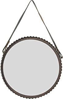 Stone & Beam Rustic Farmhouse Round Wood Iron Mirror with Faux Leather Strap - 22 Inch, Black Metal