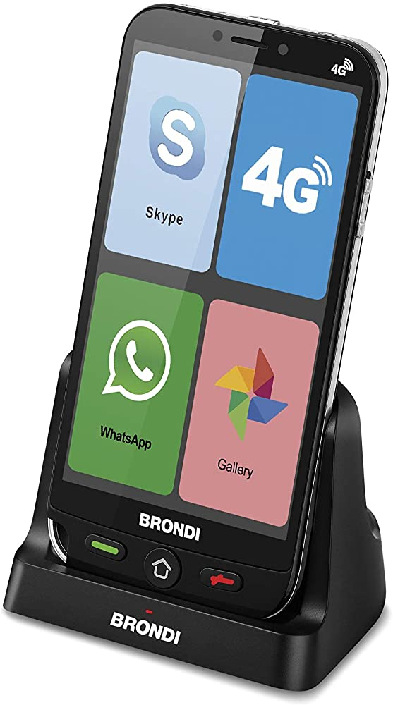 Brondi amico smartphone 4g telefono cellulare per anziani gsm dual sim con tasti grandi, funzione sos 10277040